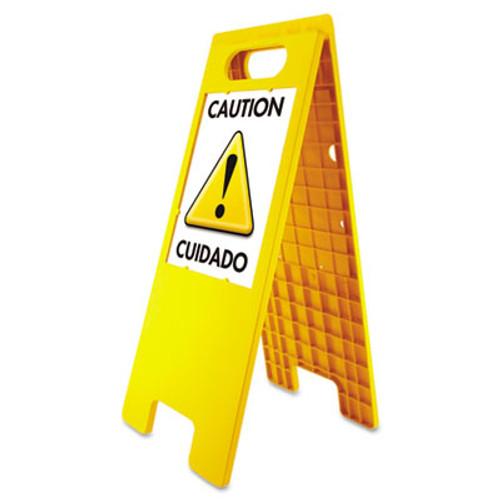 "Headline Floor Tent Sign, Doublesided, Plastic, 10 1/2"" x 25 1/2"", Yellow (USS5693)"