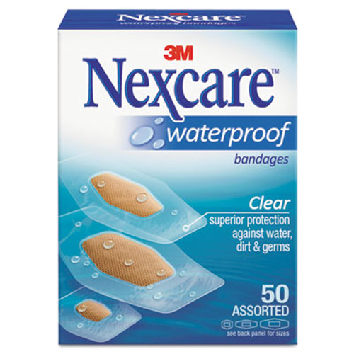 3M Nexcare Waterproof, Clear Bandages, Assorted Sizes, 50/Box (MMM43250)