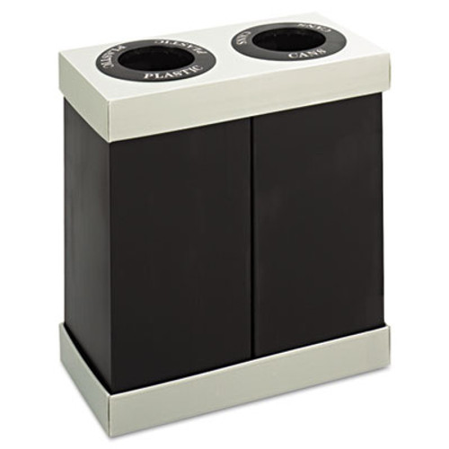 Safco At-Your-Disposal Recycling Center, Polyethylene, Two 56gal Bins, Black (SAF9794BL)