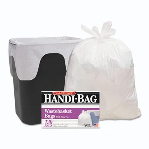Handi-Bag Handi-Bag Super Value Pack, 8gal, 0.6mil, 22 x 24, White, 130/Box (WBIHAB6FW130)