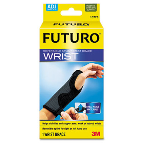 "FUTURO Adjustable Reversible Splint Wrist Brace, Fits Wrists 5 1/2""- 8 1/2"", Black (MMM10770EN)"
