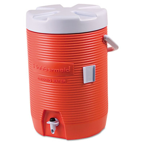 "Rubbermaid Insulated Beverage Container, 3gal, 11"" dia x 16 7/10h, Orange/White (RUB16830111)"