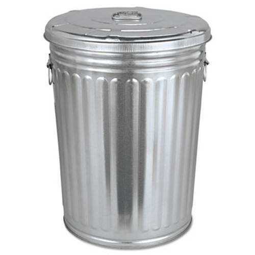 Magnolia Brush Pre-Galvanized Trash Can With Lid, Round, Steel, 20gal, Gray (MNL20GALLONWLID)