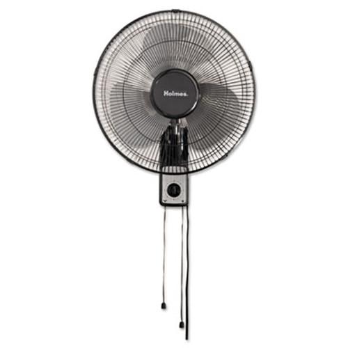 """Holmes 16"""" Wall Mount Fan, 3-Speed, Metal, Black (HLSHMF1611AUM)"""
