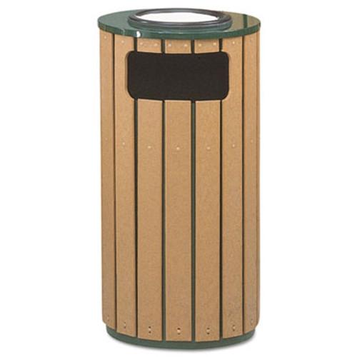 Rubbermaid Regent 50 Ash/Trash Receptacle, Green Enamel/Brown Cedar Plastic, 12 gal (RCPR23SU50PL)