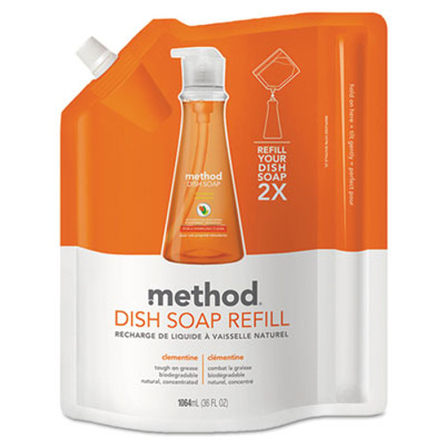 Method Dish Soap Refill, Clementine Scent, 36 oz Pouch (MTH01165)