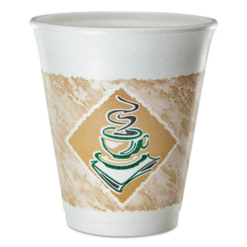 Dart Cafe G Foam Hot/Cold Cups, 8 oz, Brown/Green/White, 25/Pack (DCC8X8GPK)