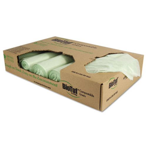 Heritage Biotuf Compostable Can Liners, 32 gal, 1 mil, 34 x 48, Light Green, 100/Carton (HERY6848YER01)
