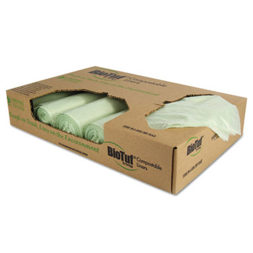 Heritage Biotuf Compostable Can Liners, 48 gal, 1 mil, 42 x 48, Light Green, 100/Carton (HERY8448YER01)