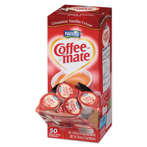 Coffee-mate Liquid Coffee Creamer, Cinnamon Vanilla, 0.375 oz Mini Cups, 50/Box (NES42498)