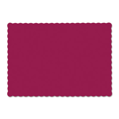Hoffmaster Solid Color Scalloped Edge Placemats, 9 1/2 x 13 1/2, Burgundy, 1000/Carton (HFM310524)