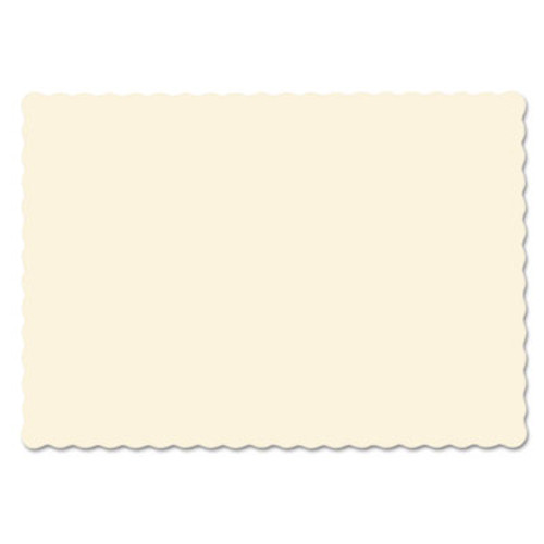 Hoffmaster Solid Color Scalloped Edge Placemats, 9 1/2 x 13 1/2, Ecru, 1000/Carton (HFM310522)