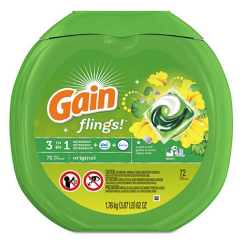 Gain Flings Laundry Detergent Pods, Original Scent, 0.06 Pac, 72/Container (PGC86792EA)