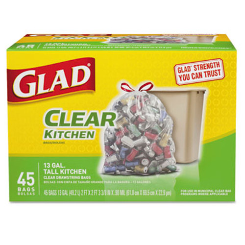 Glad Recycling Tall Kitchen Drawstring Trash Bags, Clear, 13 gal, .9 mil, 45/Box (CLO78543)