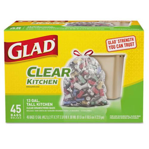 Glad Recycling Tall Kitchen Drawstring Trash Bags, Clear, 13 gal, .9 mil, 45/Box (CLO78543)