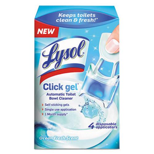 LYSOL Click Gel Automatic Toilet Bowl Cleaner, Ocean Fresh, 0.17 oz, 4/Box (RAC92918)