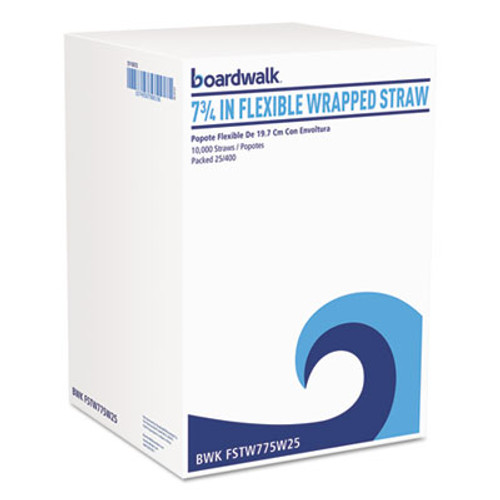 "Boardwalk Flexible Wrapped Straws, 7 3/4"", White, 400/Pack (BWKFSTW775W25PK)"