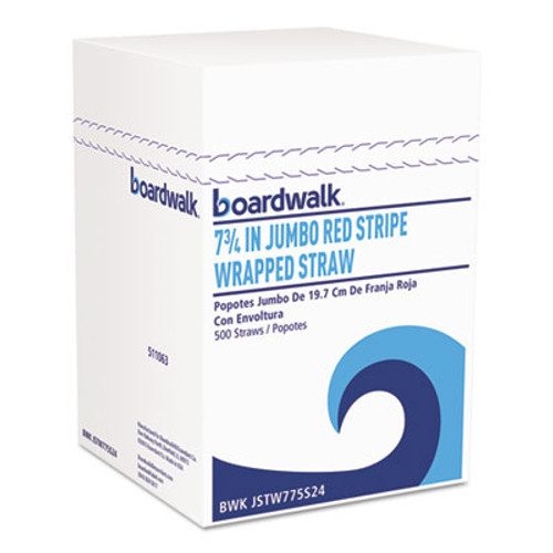 "Boardwalk Jumbo Straws, 7 3/4"", Plastic, Red w/White Stripe, 500/Pack (BWKJSTW775S24PK)"