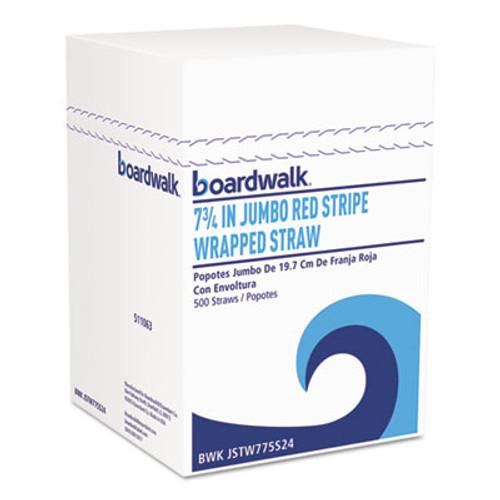"Boardwalk Jumbo Straws, 7 3/4"", Plastic, Red w/White Stripe, 500/Pack (BWKJSTW775S24PK)"