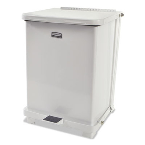 Rubbermaid Defenders Biohazard Step Can, Square, Steel, 7 gal, White (RCPST7EPLWHI)