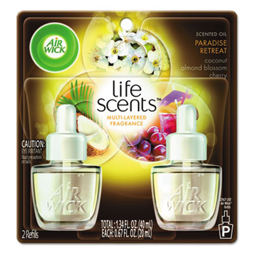 Air Wick Life Scents Scented Oil Refills, Paradise Retreat, 0.67 oz, 2/Pack, 6 Pack/Ctn (RAC91110)