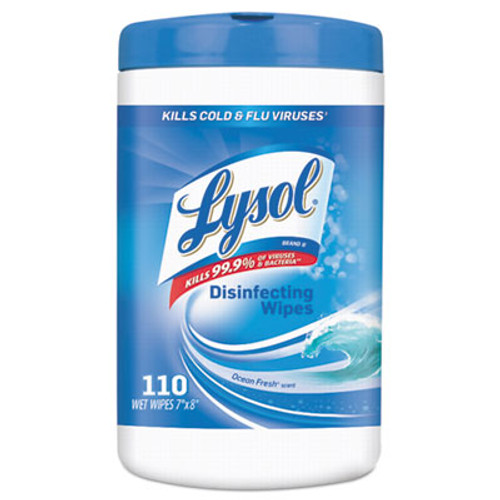 LYSOL Disinfecting Wipes, Ocean Fresh Scent, 7 x 8, White, 110/Canister, 6/Pack (RAC93010CT)