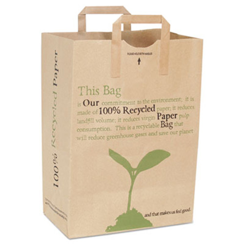 Duro Bag Handled Paper Bags, Kraft, 7 x 12 x 17, 300/Bundle (DRO45003)