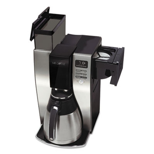 Mr. Coffee Optimal Brew 10-Cup Thermal Programmable Coffeemaker, Black/Brushed Silver (MFEBVMCPSTX91)