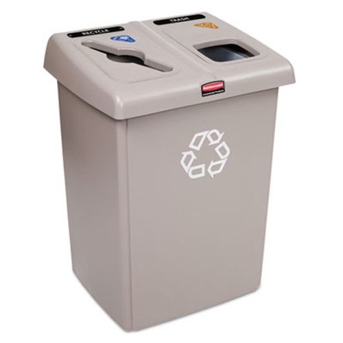 Rubbermaid Glutton Recycling Station, Two-Stream, 46 gal, Beige (RCP1792371)