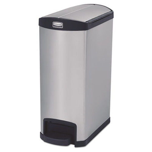 Rubbermaid Commercial Slim Jim Stainless Steel Step-On Container, End Step Style, 13 gal, Black (RCP1901993)