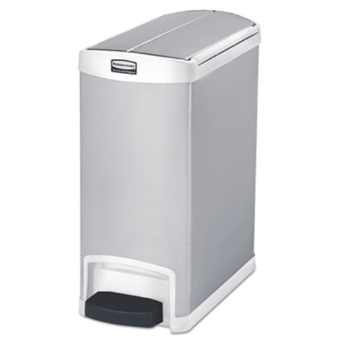 Rubbermaid Slim Jim Stainless Steel Step-On Container, End Step Style, 8 gal, White (RCP1901991)