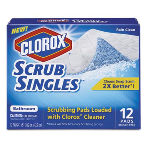 "Clorox ScrubSingles Scrubbing Pads, Rain Clean Scent, 4"" x 5"", 12/Box, 12 Box/Carton (CLO31281CT)"