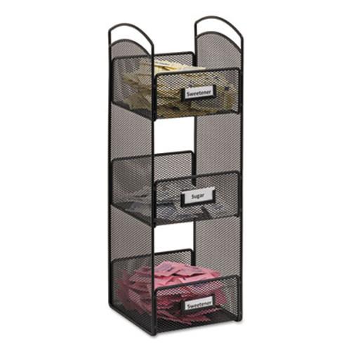 Safco Onyx Breakroom Organizers, 3 Compartments, 6 x 6 x 18, Steel Mesh, Black (SAF3290BL)