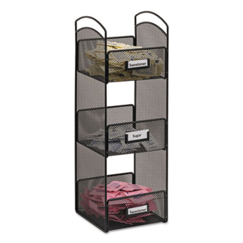 Safco Onyx Breakroom Organizers, 3 Compartments, 6 x 6 x 18, Steel Mesh, Black (SAF3290BL)