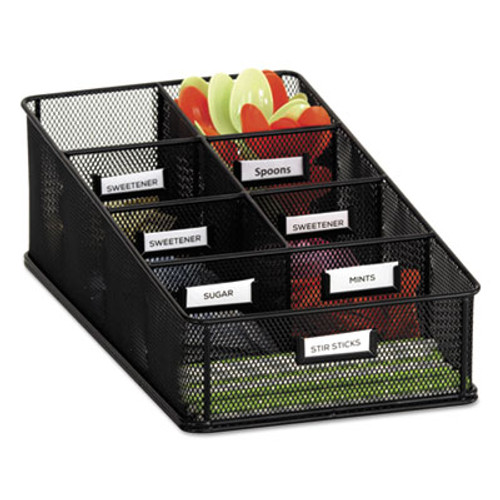 Safco Onyx Breakroom Organizers, 7 Compartments, 16 x8 1/2x5 1/4, Steel Mesh, Black (SAF3291BL)