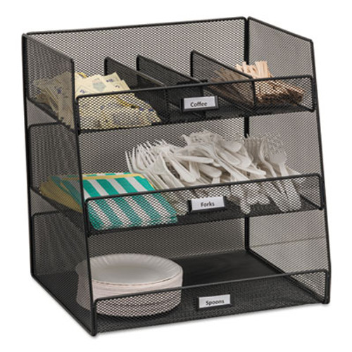 Safco Onyx Breakroom Organizers, 3 Compartments,14.625x11.75x15, Steel Mesh, Black (SAF3293BL)