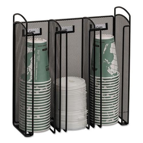 Safco Onyx Breakroom Organizers, 3Compartments, 12.75x4.5x13.25, Steel Mesh, Black (SAF3292BL)