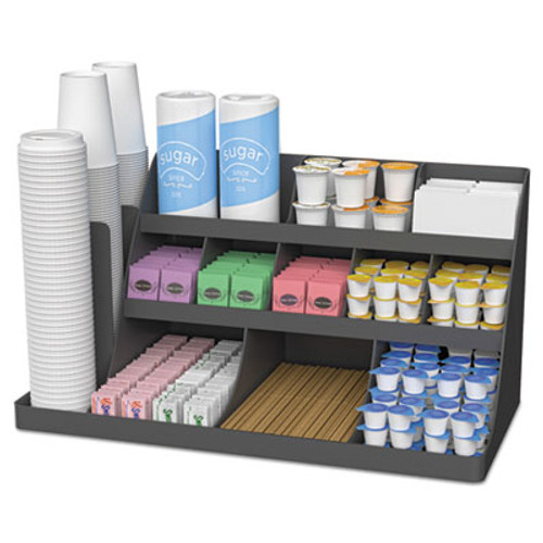 Mind Reader Extra Large Coffee Condiment and Accessory Organizer,24 x 11 4/5 x 12 1/2, Black (EMSCOMORG02BLK)