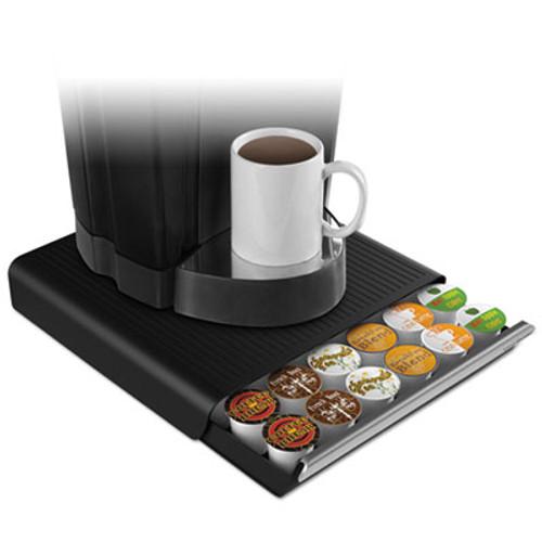 Mind Reader Coffee Pod Drawer, Fits 26 Pods, 14 3/4 x 13 1/4 x 2 3/4, Black (EMSTRY26PCBLK)
