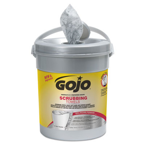 GOJO Scrubbing Towels, Hand Cleaning, Silver/Yellow, 10 1/2 x12, 72/Canister (GOJ639606EA)