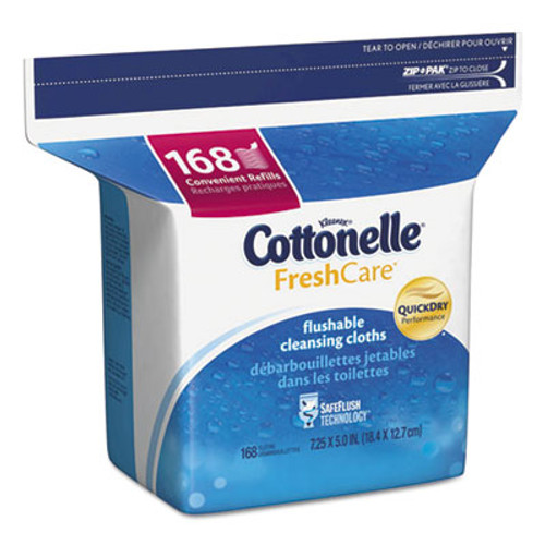 Cottonelle Fresh Care Flushable Cleansing Cloths, White, 5 x 7 1/4, 168/Pack (KCC10358EA)