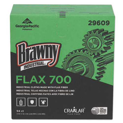 Brawny Industrial FLAX 700 Medium Duty Cloths, 9 x 16 1/2, White, 94/Box, 10 Box/Carton (GPC29609)
