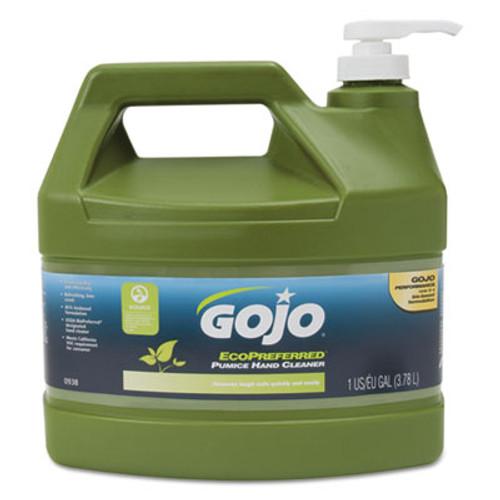 GOJO Ecopreferred Pumice Hand Cleaner, 1 Gal Pump Bottle, Lime Scent (GOJ093804EA)
