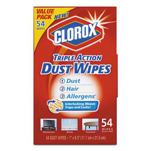Clorox Triple Action Dust Wipes, White, 7 x 8 1/2, 54/Box, 5 Box/Carton (CLO31312)