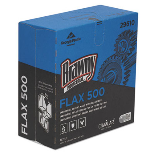 Brawny Industrial FLAX 500 Light Duty Cloths, 9 x 16 1/2, White, 132/Box, 10 Box/Carton (GPC29610)