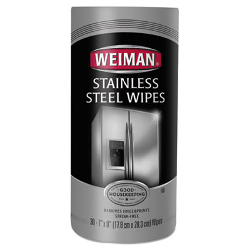 WEIMAN Stainless Steel Wipes, 7 x 8, 30/Canister, 4 Canisters/Carton (WMN92CT)