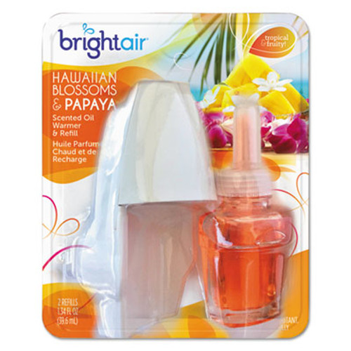 BRIGHT Air Electric Scented Oil Air Freshener Warmer/Refill, Hawaiian Blossoms/Papaya, 8/CT (BRI900254)
