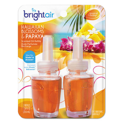 BRIGHT Air Electric Scented Oil Air Freshener Refill, Hawaiian Blossom/Papaya,2/PK, 6 PK/CT (BRI900256)