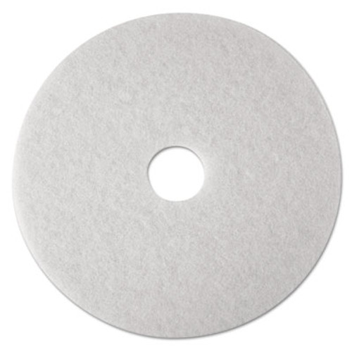"3M Low-Speed Super Polishing Floor Pads 4100, 15"" Diameter, White, 5/Carton (MMM08479)"