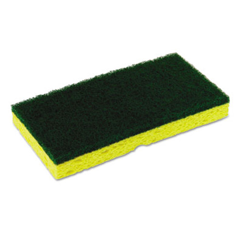 Continental Medium-Duty Sponge N' Scrubber, 3 3/8 x 6 1/4, Yellow/Green, 3/PK, 8 PK/CT (CMC74H)